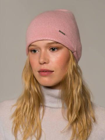 Женская светло-розовая шапка из 100% кашемира - фото 2