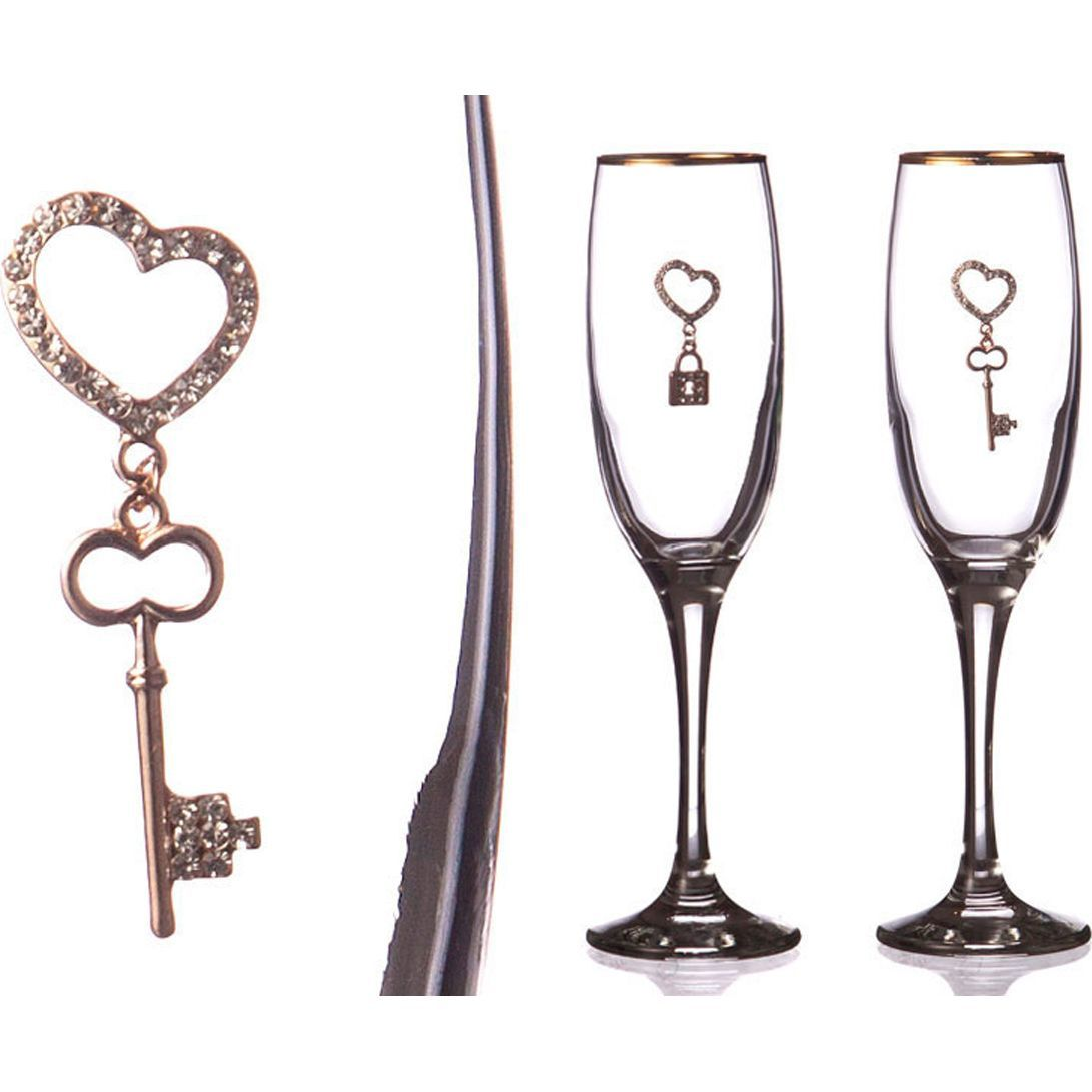 Набор бокалов для шампанского с золотой каймой, сердцем, ключиком и замочком, 170 мл, 2 шт