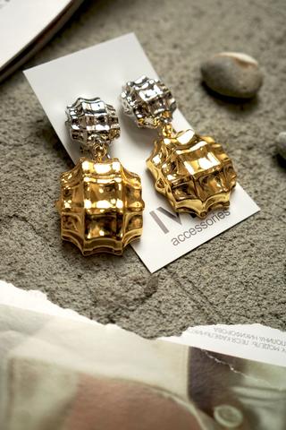 Серьги золото+ серебро, шары, жатый металл 2 яруса, застежка