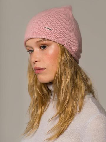 Женская светло-розовая шапка из 100% кашемира - фото 3