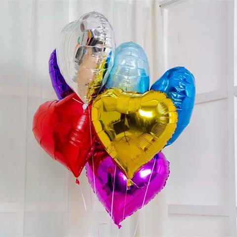 Фольгированные шары сердца без рисунка ассорти