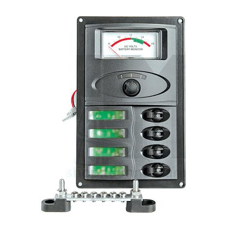 Панель переключателей (4 шт) с аналоговым вольтметром