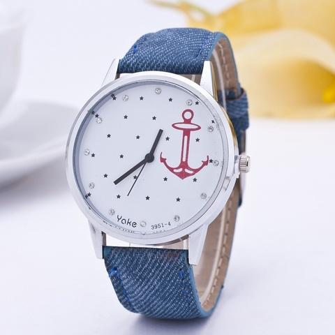 Часы с красным якорем и кристаллами (синий)
