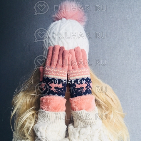 Перчатки с оленями шерстяные (Цвет: розовый)