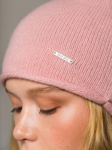 Женская светло-розовая шапка из 100% кашемира - фото 5