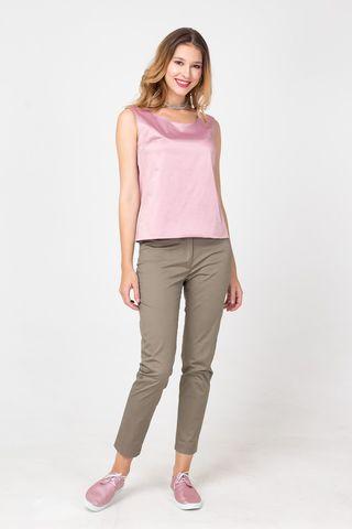 Фото розовая блуза с металлическим отливом без рукавов - Блуза Г676-120 (1)