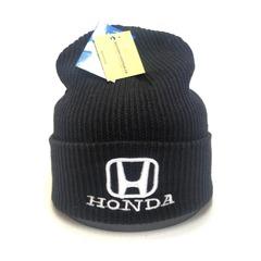 Вязаная шапка с вышитым логотипом Хонда (Honda) черная фото 1