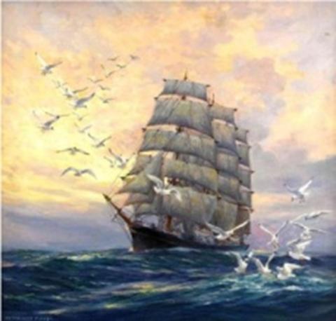 Картина раскраска по номерам 40x50 Корабль и чайки в море