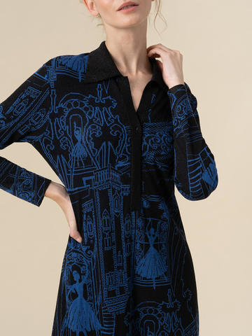 Женское платье А-силуэта черного цвета из вискозы - фото 4