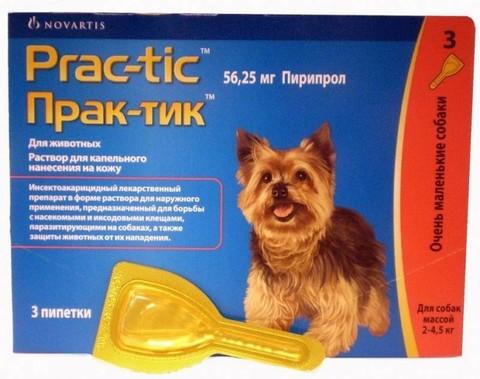 Prac-Tic Капли от блох и клещей для собак 2-4,5кг (1 штука)