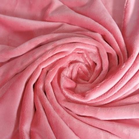 Плюш односторонний пепельно-розовый  (отрез 90х160) см