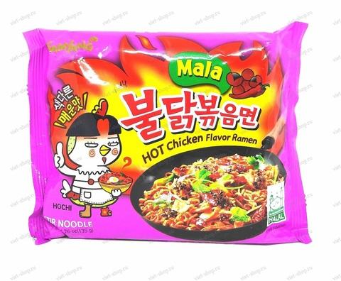 Корейская пшеничная лапша со вкусом курицы и соуса чили, острая Hot Chicken, 135 гр.