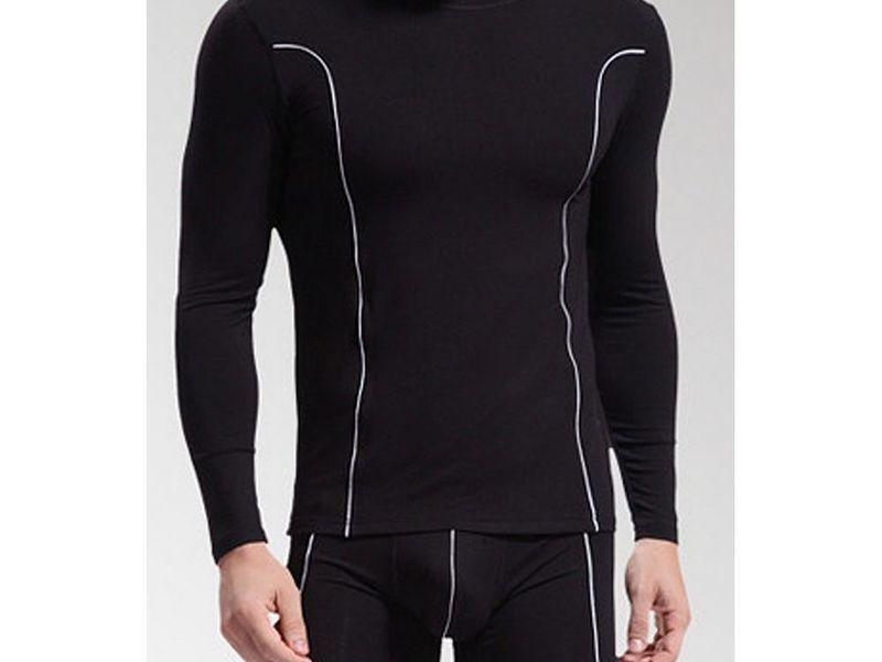 Мужской комплект (кальсоны и футболка) черный WANG JIANG