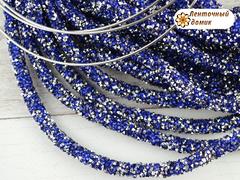 Шнур трубчатый стразовый синее серебро 40 см