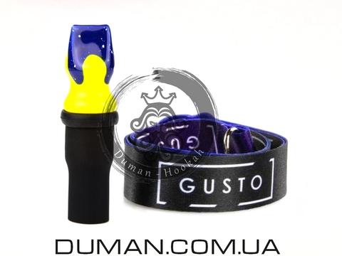 Персональный мундштук Gusto Bowls (Густо Болс) для кальяна |Blue-Yellow Gusto