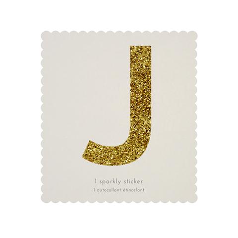 Стикер J, мерцающее золото