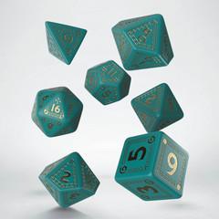 RuneQuest Turquoise & gold Dice Set (7)