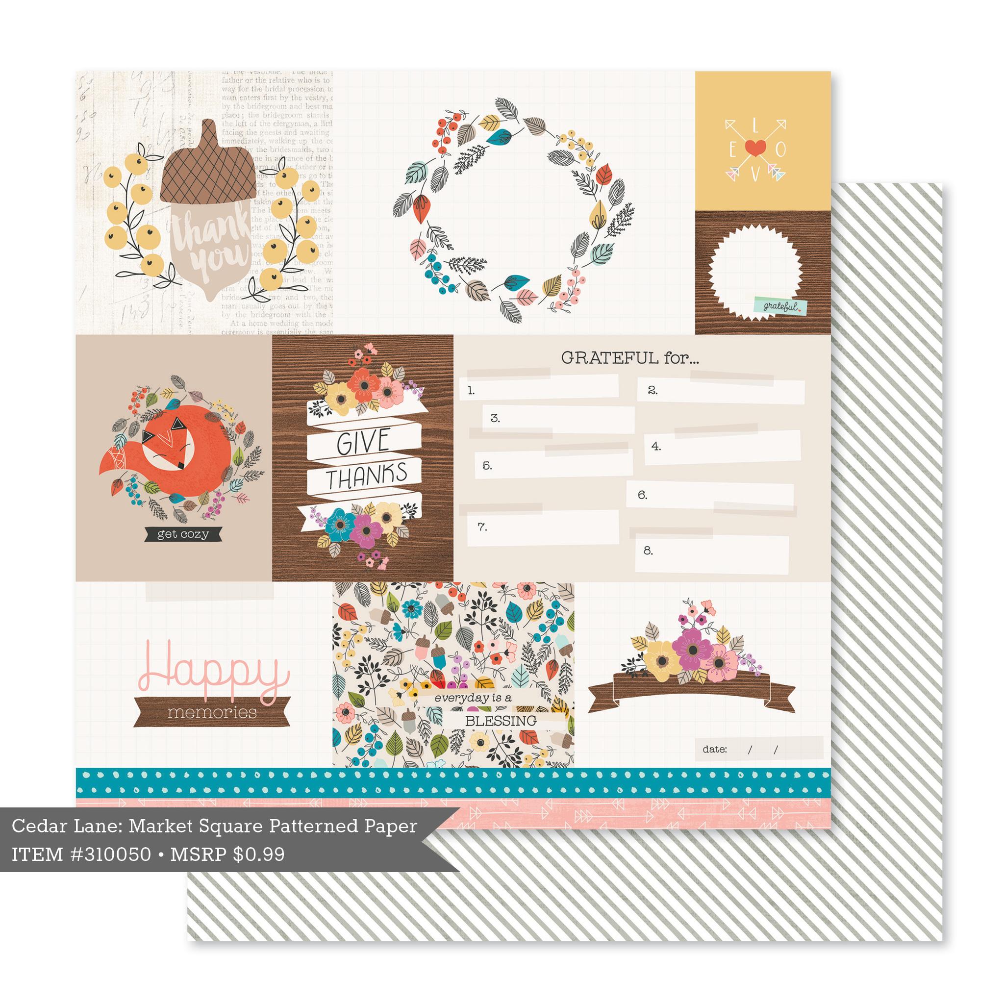 Лист двусторонней бумаги  30 х30 см с журнальными карточками Cedar Lane by Pink Paislee