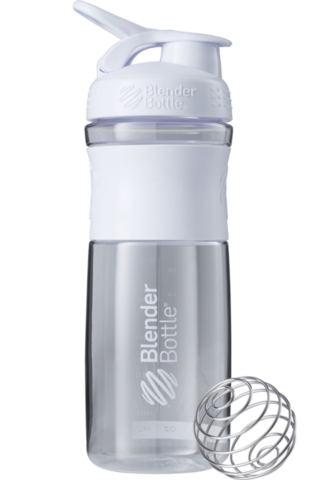 BlenderBottle SportMixer, Универсальная Спортивная бутылка-шейкер с венчиком.  Clear-White-белый 828 мл cat