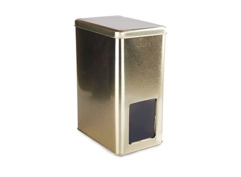 Банка для чая золотая с окошком ( д151мм х ш101мм х в211мм). Интернет магазин чая