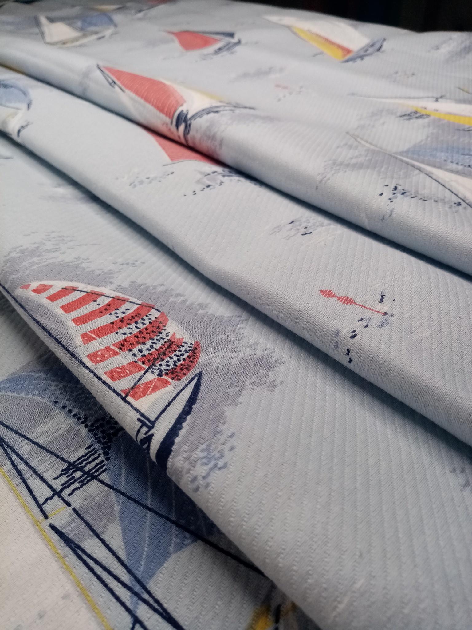 Ткань пике для пошива покрывал Кораблики
