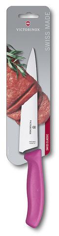 Нож Victorinox разделочный, лезвие 19 см, розовый, в картонном блистере