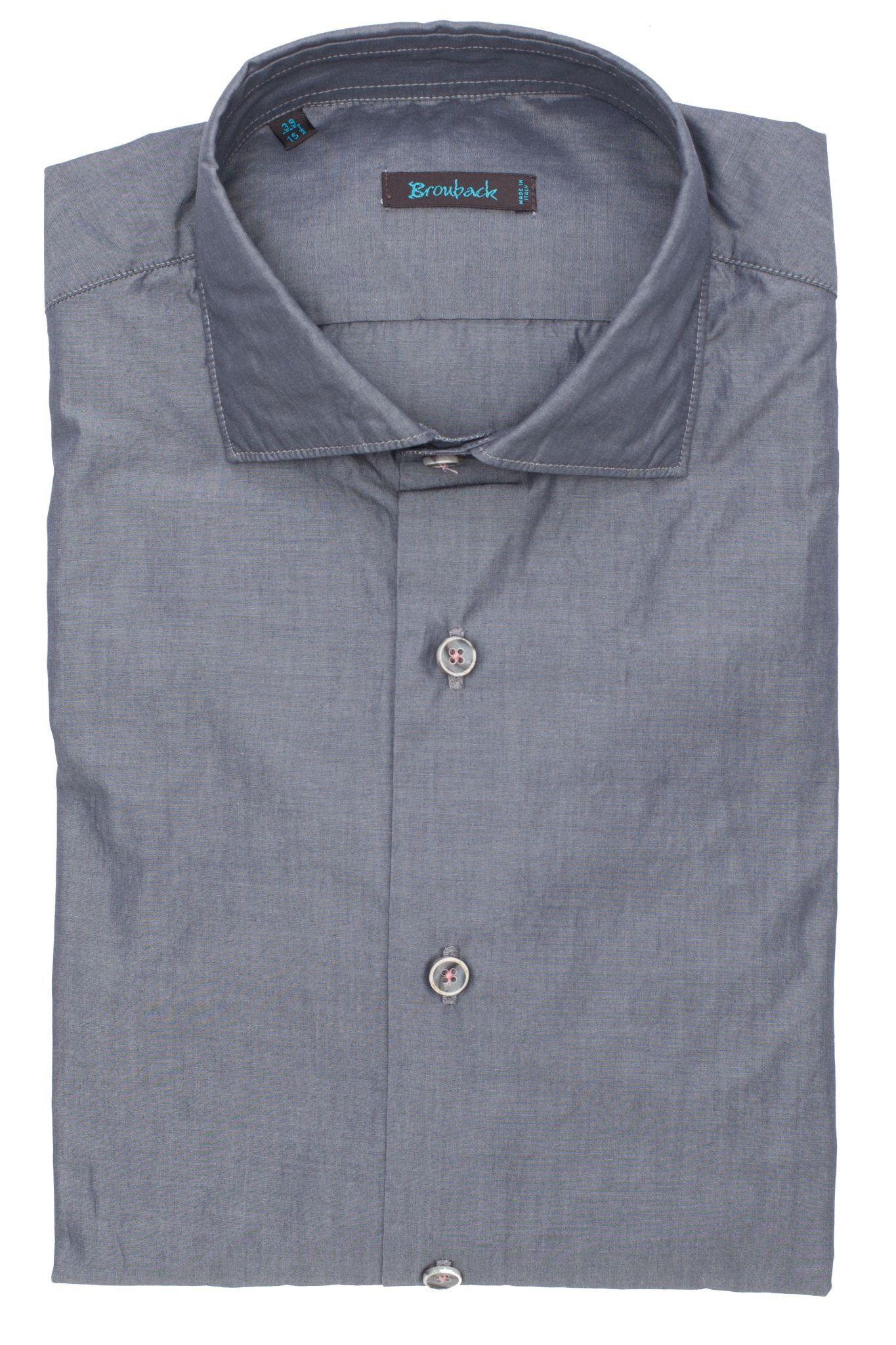 Стальная серая рубашка с замечательными пуговицами на розовых нитках
