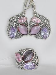 Одетта (кольцо + серьги из серебра)