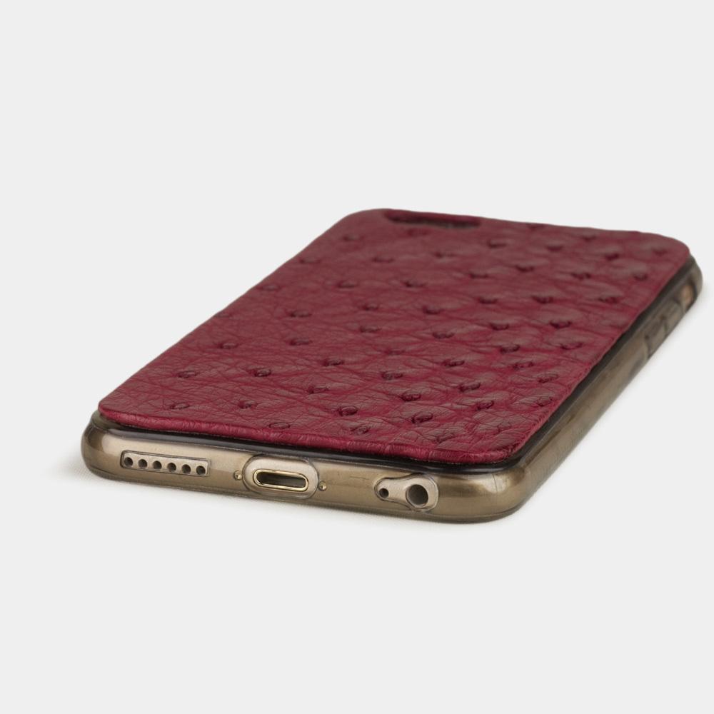 Чехол-накладка для iPhone 6/6S из натуральной кожи страуса, цвета фуксии