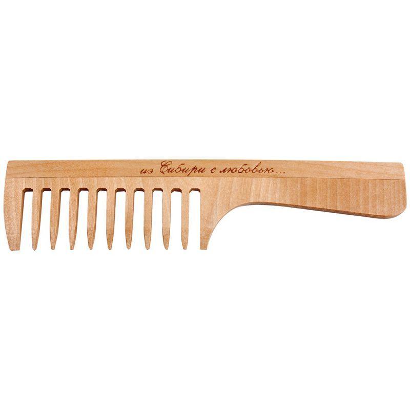 Расчёска с ручкой деревянная, редкий зуб