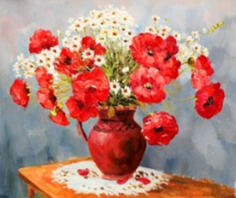 Картина раскраска по номерам 40x50 Букет маков и ромашек в глиняном кувшине