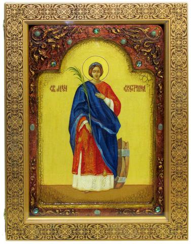 Большая Живописная икона Святая великомученица Екатерина 42х29см на кипарисе в березовом киоте