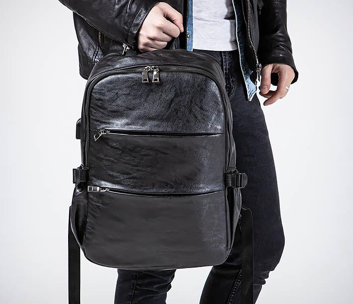 BAG527-1 Кожаный рюкзак с несколькими отделениями