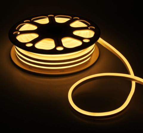 Гибкий неон 8х16 мм, светодиодный | Теплого свечения - 50м