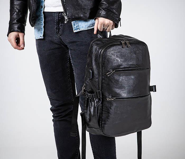 BAG527-1 Кожаный рюкзак с несколькими отделениями фото 02
