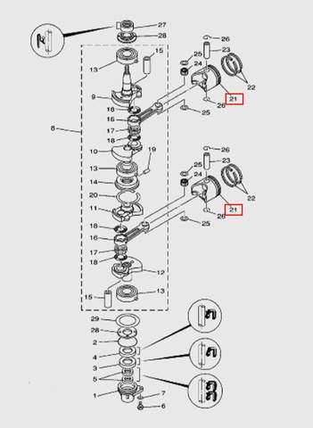 Поршень  для лодочного мотора T15, OTH 9,9 SEA-PRO (3-21)
