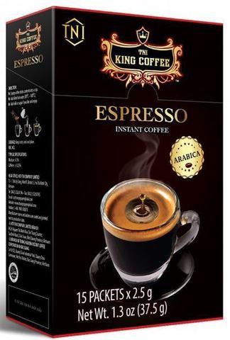 Растворимый черный кофе TNI King Coffee ESPRESSO. Коробка 24х15 штук.