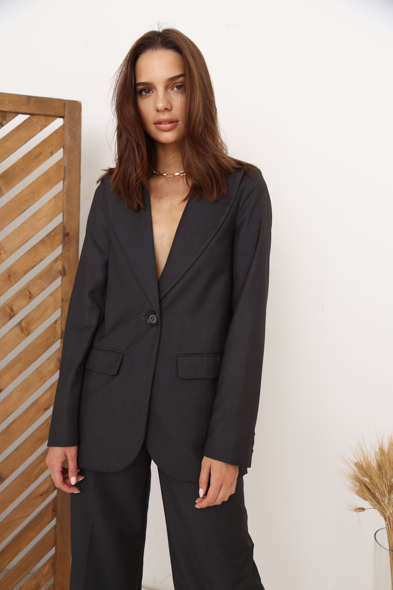 Пиджак прямой (темно-серый)
