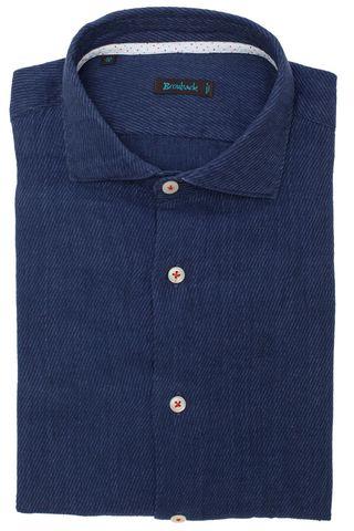 Тёмно-синяя рубашка в тонкую диагональную полоску из мягкой плотной ткани