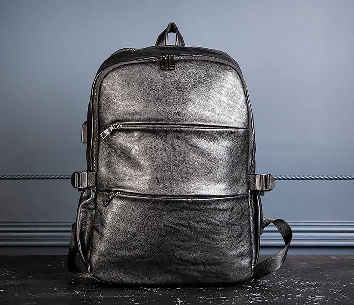 BAG527-1 Кожаный рюкзак с несколькими отделениями фото 04