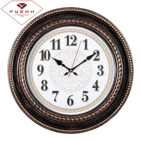 5232-110 (5) Часы настенные круг d=45,5см, корпус черный с бронзой
