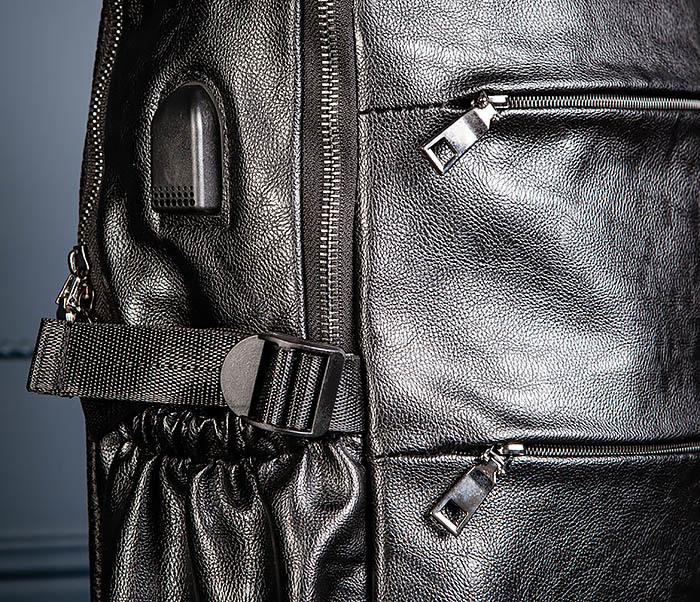 BAG527-1 Кожаный рюкзак с несколькими отделениями фото 06