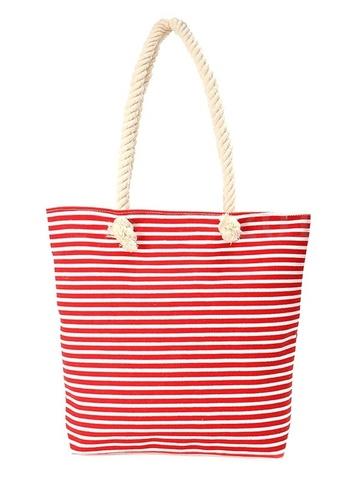 Сумка летняя в морском стиле с канатиками (красная)