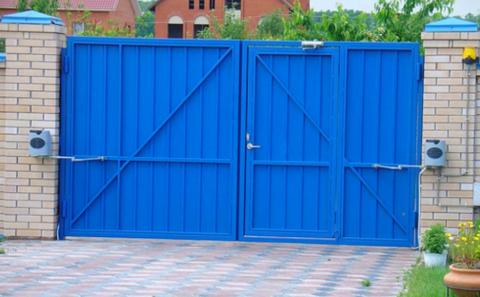 Распашные ворота с калиткой 4000Х2000 мм