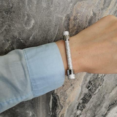 85142 - Браслет из серебра в обсыпке из цирконов (только верхняя часть)