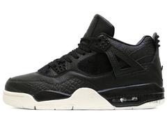 Кроссовки Мужские Nike Air Jordan 4 Retro Black  White Leather