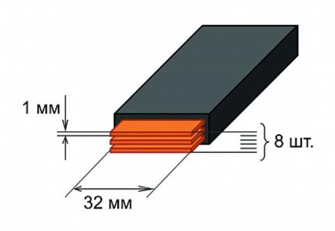 Шина медная гибкая изолированная ШМГ 8х(32x1мм) 2м.
