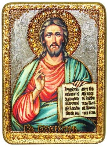 Инкрустированная икона Господь Вседержитель 29х21см на натуральном дереве в подарочной коробке