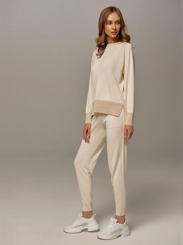 Женские брюки белого цвета из шелка и кашемира - фото 5