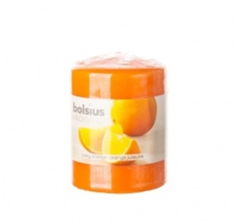 Свеча-Столбик с ароматом апельсина, 8х6см, (22 часа), цвет:оранжевый